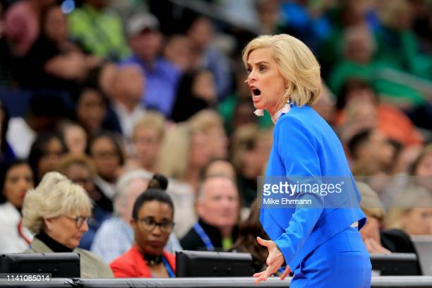 Head coach Kim Mulkey of the Baylor Lady Bears reacts against the Notre Dame Fighting Irish during the third quarter in the championship game of the...