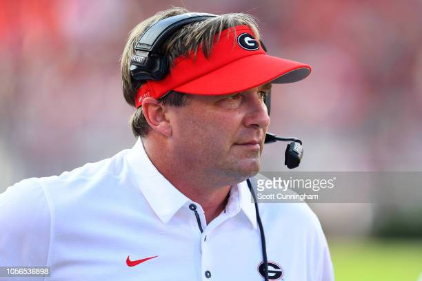 Head coach Kirby Smart of the Georgia Bulldogs against the Tennessee Volunteers on September 29 2018 at Sanford Stadium in Athens Georgia