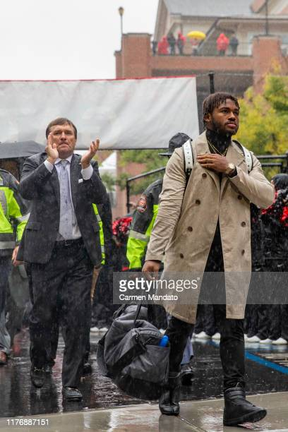Head coach Kirby Smart of the Georgia Bulldogs and D'Andre Swift arrive prior to the game against the Kentucky Wildcats at Sanford Stadium on October...