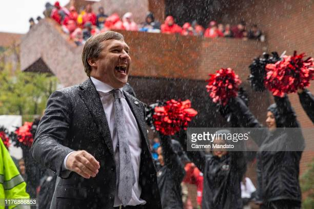 Head coach Kirby Smart of the Georgia Bulldogs arrives prior to the game against the Kentucky Wildcats at Sanford Stadium on October 19, 2019 in...
