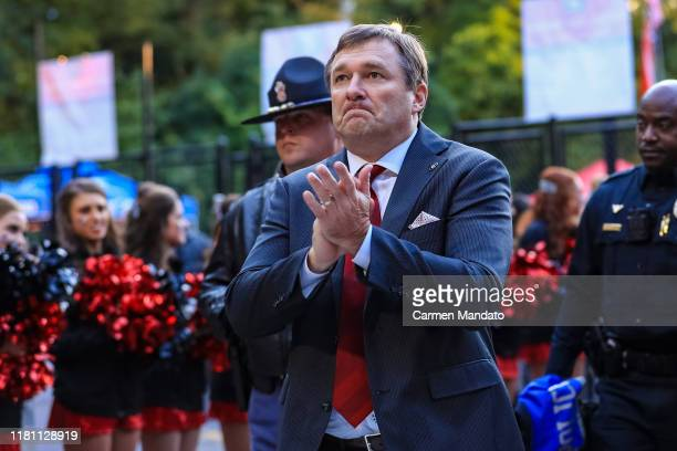 Head coach Kirby Smart of the Georgia Bulldogs arrives prior to the game against the Missouri Tigers at Sanford Stadium on November 9, 2019 in...