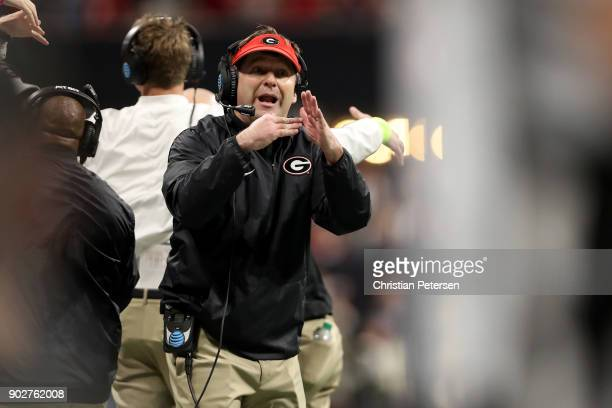 Head coach Kirby Smart of the Georgia Bulldogs calls a time out during the second quarter against the Alabama Crimson Tide in the CFP National...