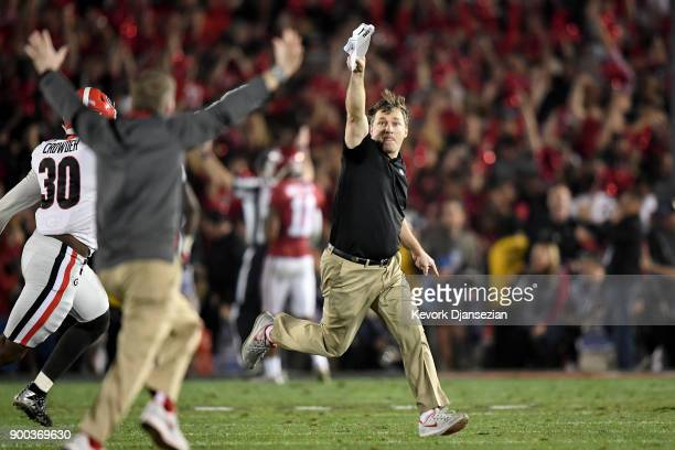 Head Coach Kirby Smart of the Georgia Bulldogs celebrates after winning the 2018 College Football Playoff Semifinal Game against the Oklahoma Sooners...
