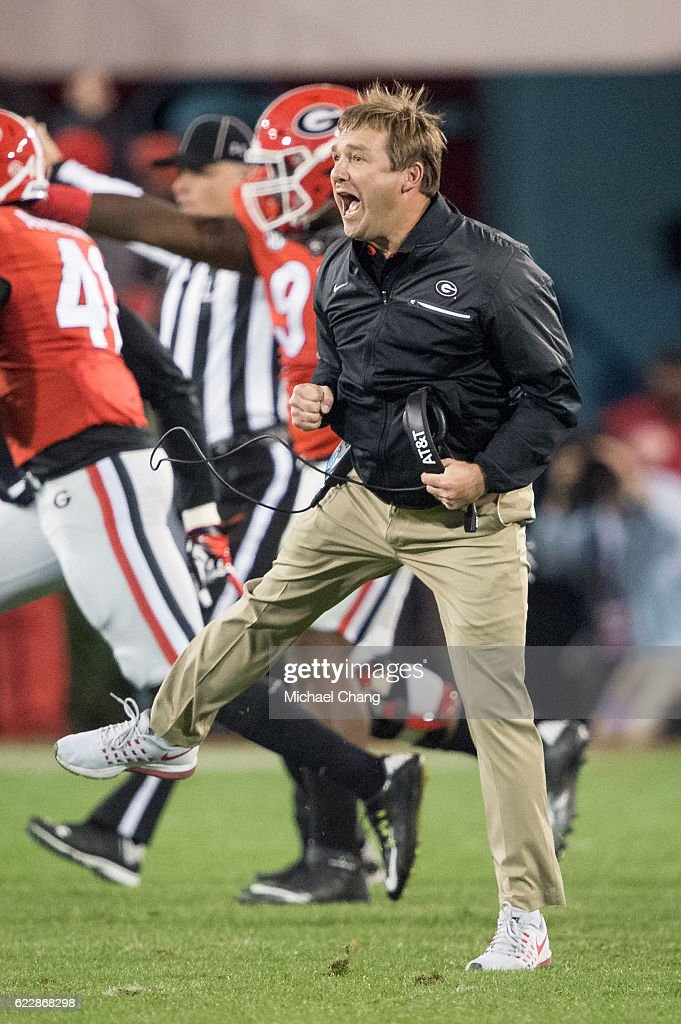 Head coach Kirby Smart of the Georgia Bulldogs celebrates during their game against the Auburn Tigers at Sanford Stadium on November 12, 2016 in Athens, Georgia. The Georgia Bulldogs defeated the Auburn Tigers 13-7.