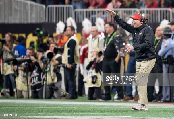 Head Coach Kirby Smart of the Georgia Bulldogs coaches against the Alabama Crimson Tide during the College Football Playoff National Championship...