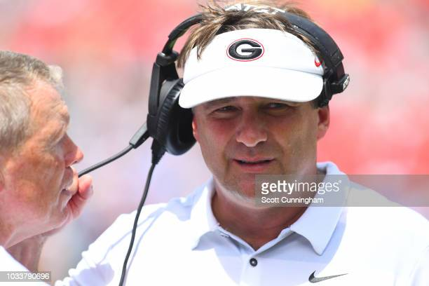 Head Coach Kirby Smart of the Georgia Bulldogs decides on a play call against the Middle Tennessee Blue Raiders on September 15 2018 at Sanford...