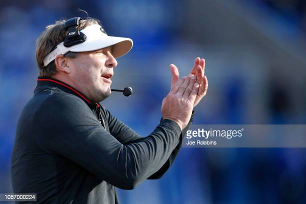 Head coach Kirby Smart of the Georgia Bulldogs reacts in the first quarter of the game against the Kentucky Wildcats at Kroger Field on November 3...