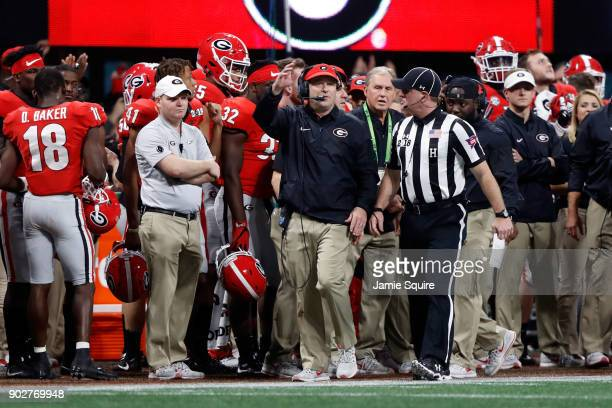 Head coach Kirby Smart of the Georgia Bulldogs reacts to a penalty during the third quarter against the Alabama Crimson Tide in the CFP National...