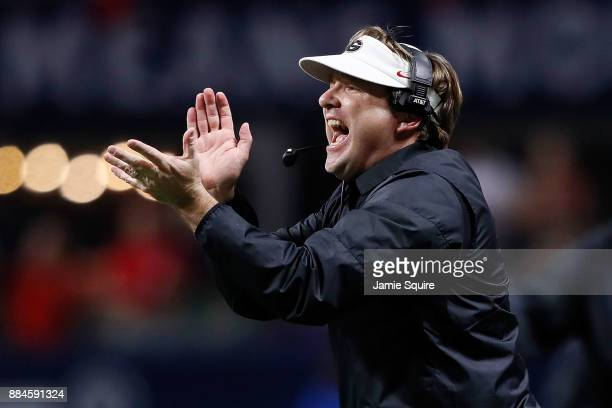 Head coach Kirby Smart of the Georgia Bulldogs reacts to a play during the second half against the Auburn Tigers in the SEC Championship at...