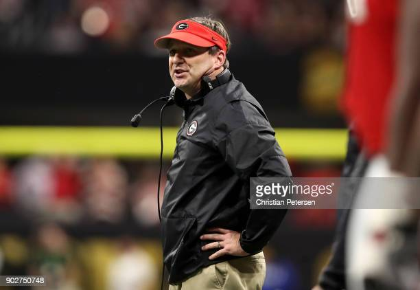 Head coach Kirby Smart of the Georgia Bulldogs reacts to a play during the second quarter against the Alabama Crimson Tide in the CFP National...