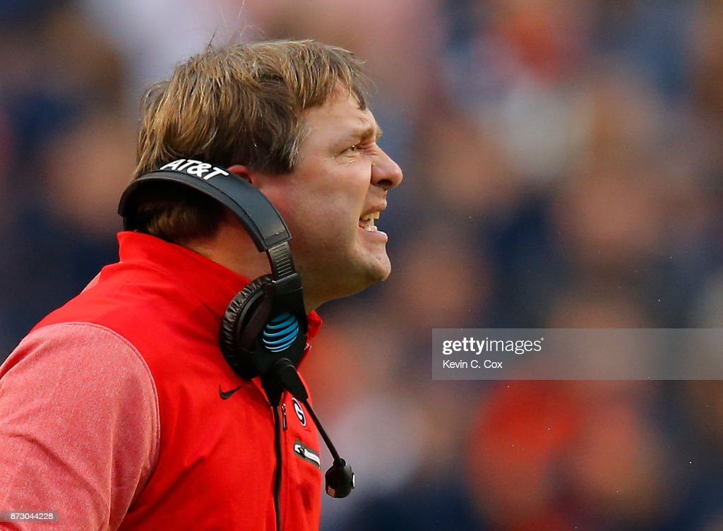 Head coach Kirby Smart of the Georgia Bulldogs reacts to the officials against the Auburn Tigers at Jordan Hare Stadium on November 11, 2017 in Auburn, Alabama.