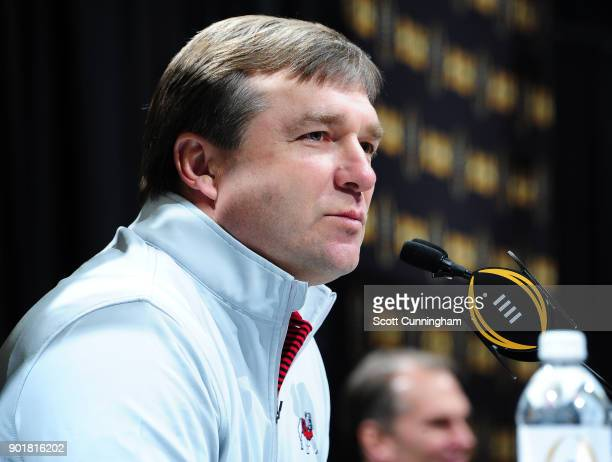 Head Coach Kirby Smart of the Georgia Bulldogs speaks to the media during the College Football Playoff National Championship Media Day at Philips...