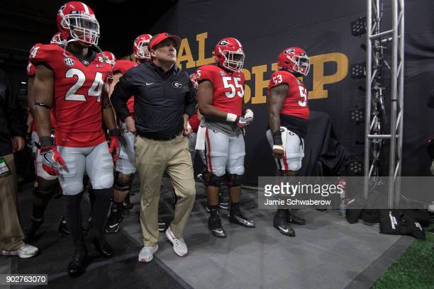 Head coach Kirby Smart of the Georgia Bulldogs takes the field against the University of Alabama during the College Football Playoff National...