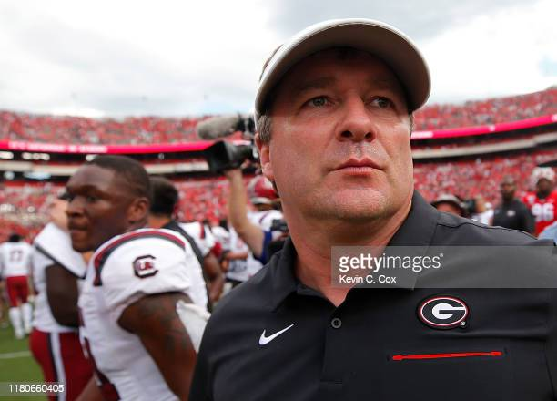 Head coach Kirby Smart of the Georgia Bulldogs walks off the field after their 2017 loss to the South Carolina Gamecocks in the second overtime at...
