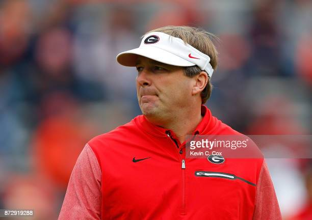 Head coach Kirby Smart of the Georgia Bulldogs walks the field prior to facing the Auburn Tigers at Jordan Hare Stadium on November 11 2017 in Auburn...