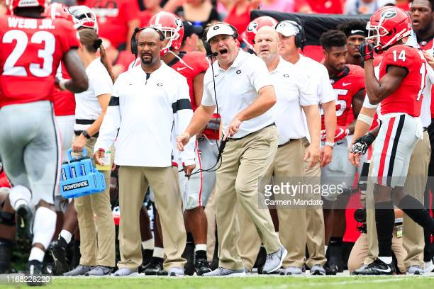 Head coach Kirby Smart of the Georgia Bulldogs yells to his players during the first half of a game against the Arkansas State Red Wolves at Sanford...