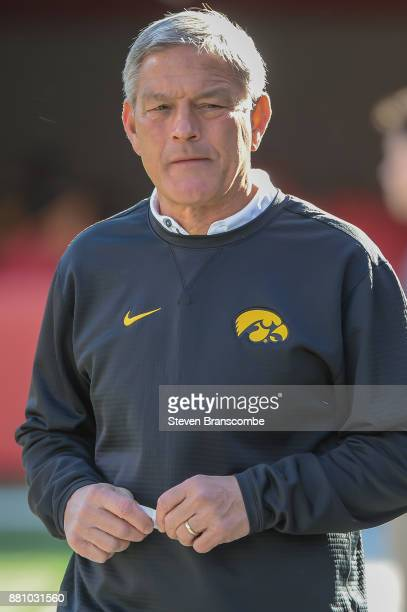 Head coach Kirk Ferentz of the Iowa Hawkeyes before the game against the Nebraska Cornhuskers at Memorial Stadium on November 24 2017 in Lincoln...
