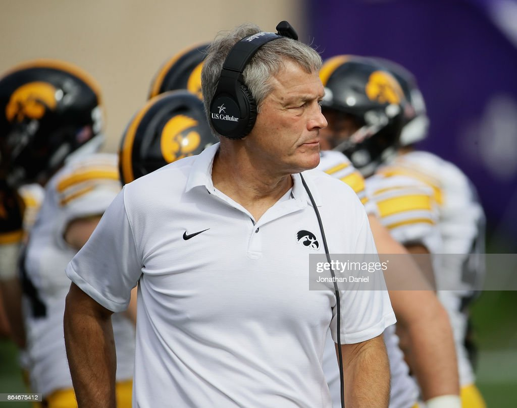 Head coach Kirk Ferentz of the Iowa Hawkeyes watches as his team takes on the Northwestern Wildcats at Ryan Field on October 21, 2017 in Evanston, Illinois.