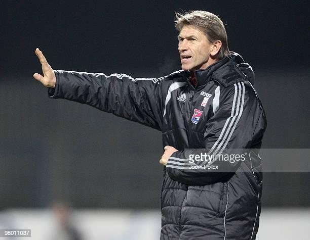 Head coach Klaus Augenthaler of Unterhaching gestures during the 3 Liga match between Holstein Kiel v SpVgg Unterhaching at the Holstein Stadion on...