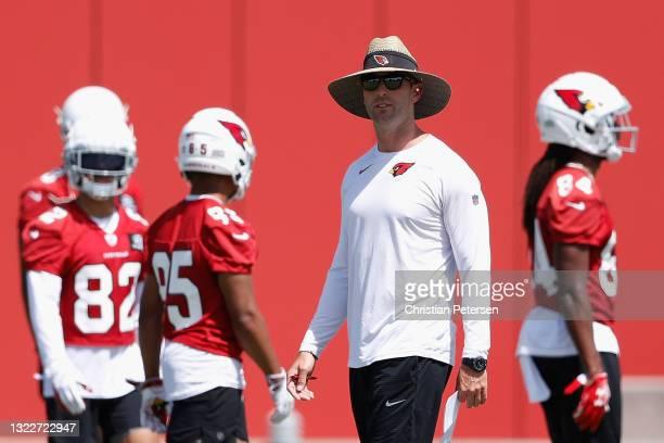 Head coach Kliff Kingsbury of the Arizona Cardinals participates in an off-season workout at Dignity Health Arizona Cardinals Training Center on June...