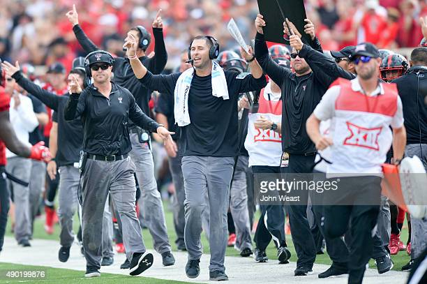 Head coach Kliff Kingsbury of the Texas Tech Red Raiders reacts on the sidelines against the TCU Horned Frogs on September 26, 2015 at Jones AT&T...