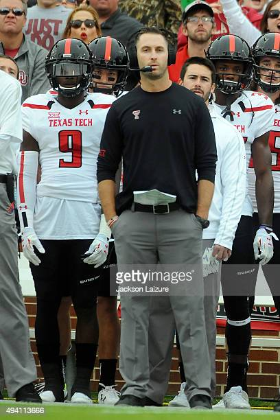 Head Coach Kliff Kingsbury of the Texas Tech Red Raiders watches the game against the Oklahoma Sooners on October 24 2015 at the Gaylord Family...