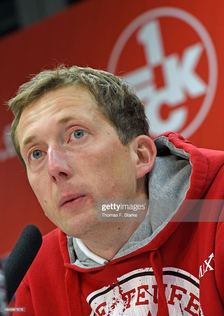 Head coach Konrad Fuenfstueck of Kaiserslautern talks at the press conference after^ the Second Bundesliga match between 1. FC Kaiserslautern and Arminia Bielefeld at Fritz-Walter-Stadion on October 30, 2015 in Kaiserslautern, Germany.