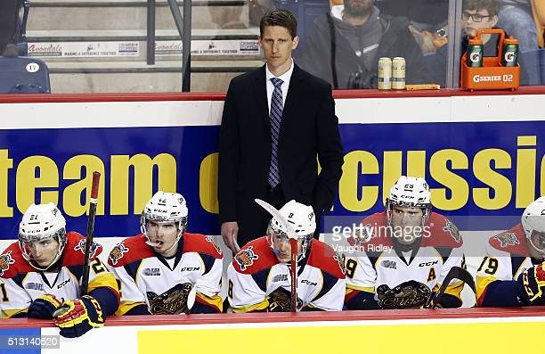 Head Coach Kris Knoblauch of the Erie Otters looks on from the bench during an OHL game against the Niagara IceDogs at the Meridian Centre on...