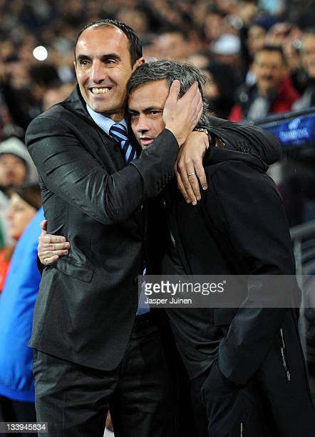 Head coach Krunoslav Jurcic of GNK Dinamo Zagreb embraces Head coach Jose Mourinho of Real Madrid prior to the start of the UEFA Champions League...