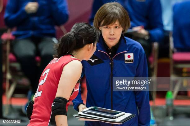 Head coach Kumi Nakada of Japan gives instruction to Wing spiker Sarina Koga of Japan during the FIVB Volleyball World Grand Prix Hong Kong 2017...