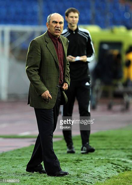 Head coach Kurban Berdyev of FC Rubin Kazan gestures during the Russian Football League Championship match between FC Rubin Kazan and FC Tom Tomsk at...