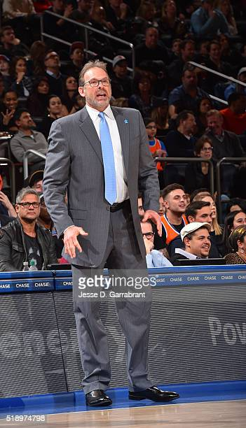 Head Coach Kurt Rambis of the New York Knicks looks on against the Indiana Pacers at Madison Square Garden on April 3 2015 in New YorkNew York NOTE...