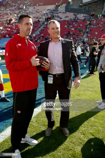 Head Coach Kyle Shanahan and General Manager John Lynch of the San Francisco 49ers talk on the field prior to the game against the Los Angeles Rams...