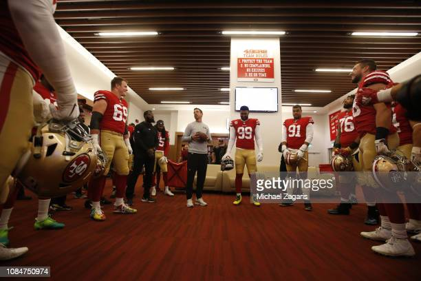 Head Coach Kyle Shanahan of the San Francisco 49ers addresses the team in the locker room prior to the game against the Seattle Seahawks at Levi's...