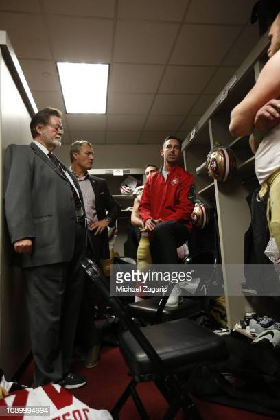 Head Coach Kyle Shanahan of the San Francisco 49ers addresses the team in the locker room as CoChairman John York and General Manager John Lynch...
