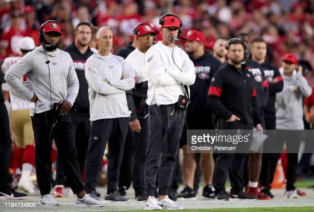 Head coach Kyle Shanahan of the San Francisco 49ers and staff look on during the game against the Arizona Cardinals at State Farm Stadium on October...
