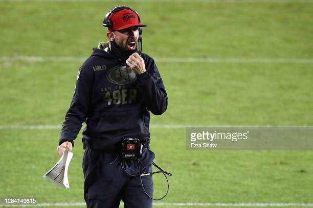 Head coach Kyle Shanahan of the San Francisco 49ers argues a pass interference call during the second quarter against the Green Bay Packers at Levi's...