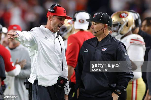 Head coach Kyle Shanahan of the San Francisco 49ers argues with a referee against the Kansas City Chiefs in Super Bowl LIV at Hard Rock Stadium on...