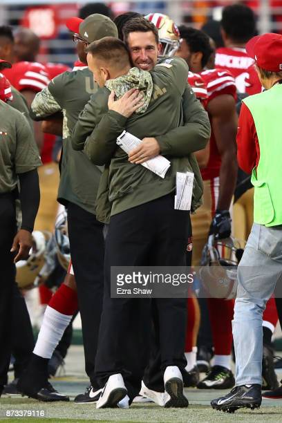 Head coach Kyle Shanahan of the San Francisco 49ers celebrates after their 3121 defeat of the New York Giants for his first win as head coach of the...