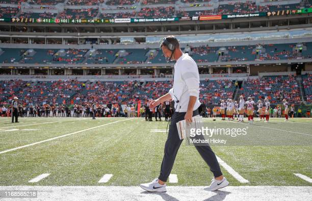 Head coach Kyle Shanahan of the San Francisco 49ers is seen during the second half against the Indianapolis Colts at Paul Brown Stadium on September...