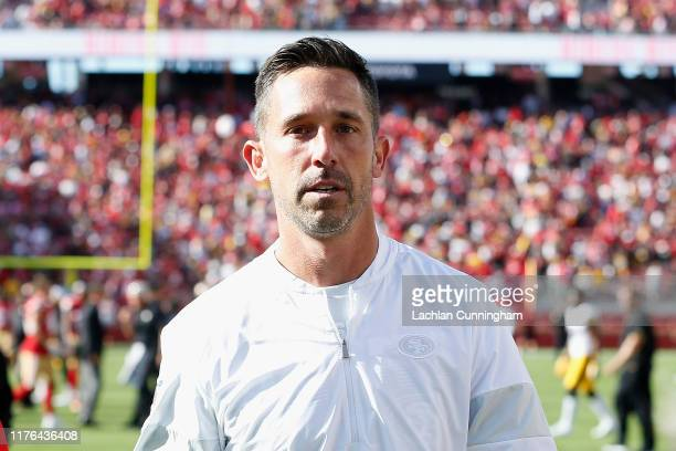 Head coach Kyle Shanahan of the San Francisco 49ers leaves the field after a win against the Pittsburgh Steelers at Levi's Stadium on September 22,...