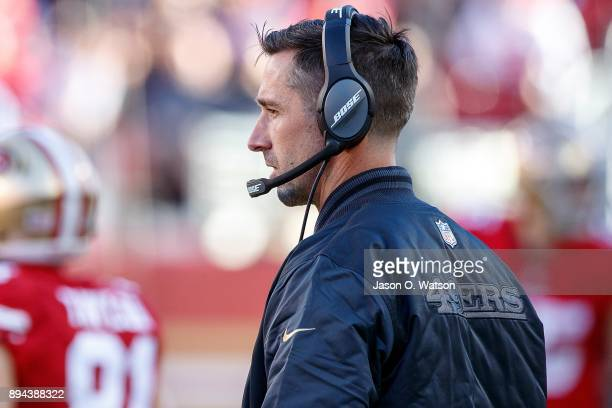 Head coach Kyle Shanahan of the San Francisco 49ers look on from the sidelines during the second quarter against the Tennessee Titans at Levi's...