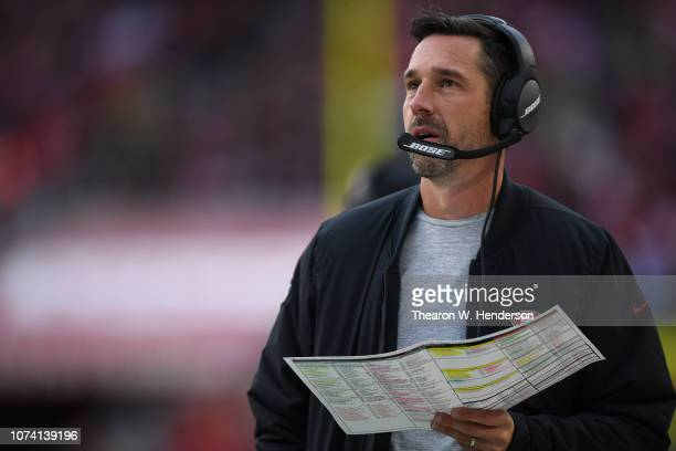 Head coach Kyle Shanahan of the San Francisco 49ers looks on against the Seattle Seahawks during their NFL game at Levi's Stadium on December 16 2018...