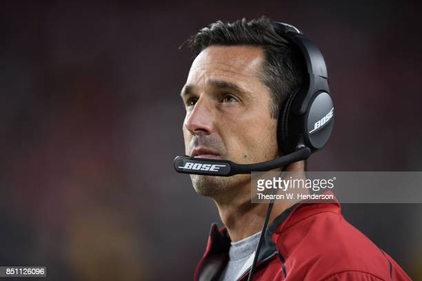 Head coach Kyle Shanahan of the San Francisco 49ers looks on against the Los Angeles Rams during their NFL game at Levi's Stadium on September 21...