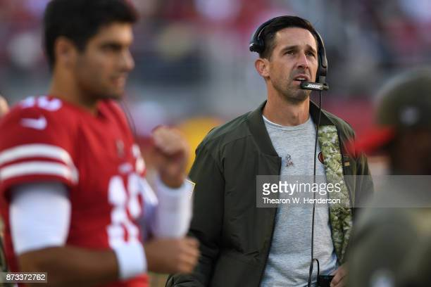 Head coach Kyle Shanahan of the San Francisco 49ers looks on against the New York Giants during their NFL game at Levi's Stadium on November 12 2017...