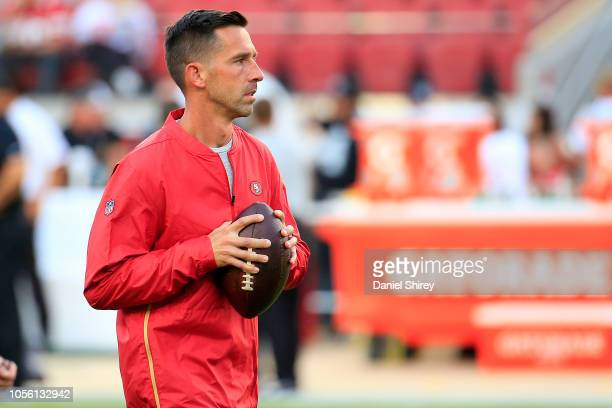 Head coach Kyle Shanahan of the San Francisco 49ers looks on during warm up prior to their game against the Oakland Raiders at Levi's Stadium on...