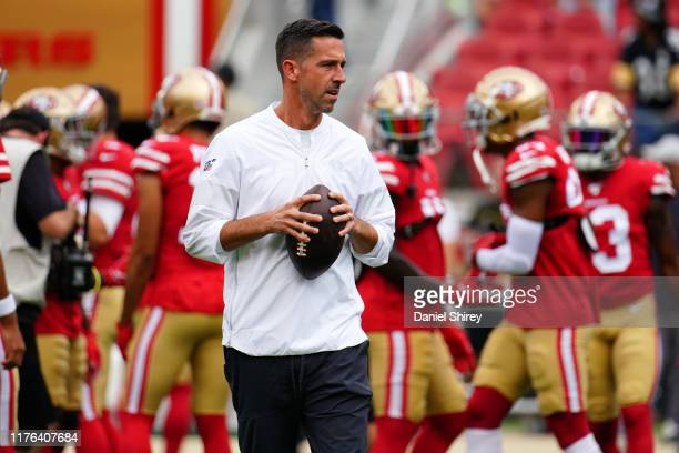 Head coach Kyle Shanahan of the San Francisco 49ers looks on during warm ups prior to the game against the Pittsburgh Steelers at Levi's Stadium on...