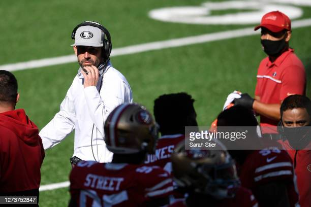 Head coach Kyle Shanahan of the San Francisco 49ers looks on during the second half against the New York Jets at MetLife Stadium on September 20,...