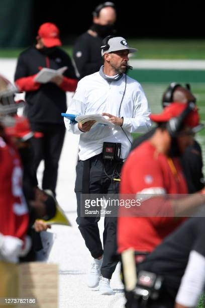 Head coach Kyle Shanahan of the San Francisco 49ers looks on during the first half of the game against the New York Jets at MetLife Stadium on...