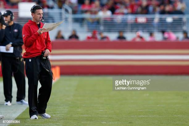 Head coach Kyle Shanahan of the San Francisco 49ers looks on during their NFL game against the Arizona Cardinals at Levi's Stadium on November 5 2017...